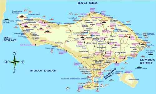 Bali map regarding places of interest
