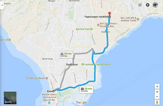 How long to reach Tegenungan from Kuta? Its less than an hour